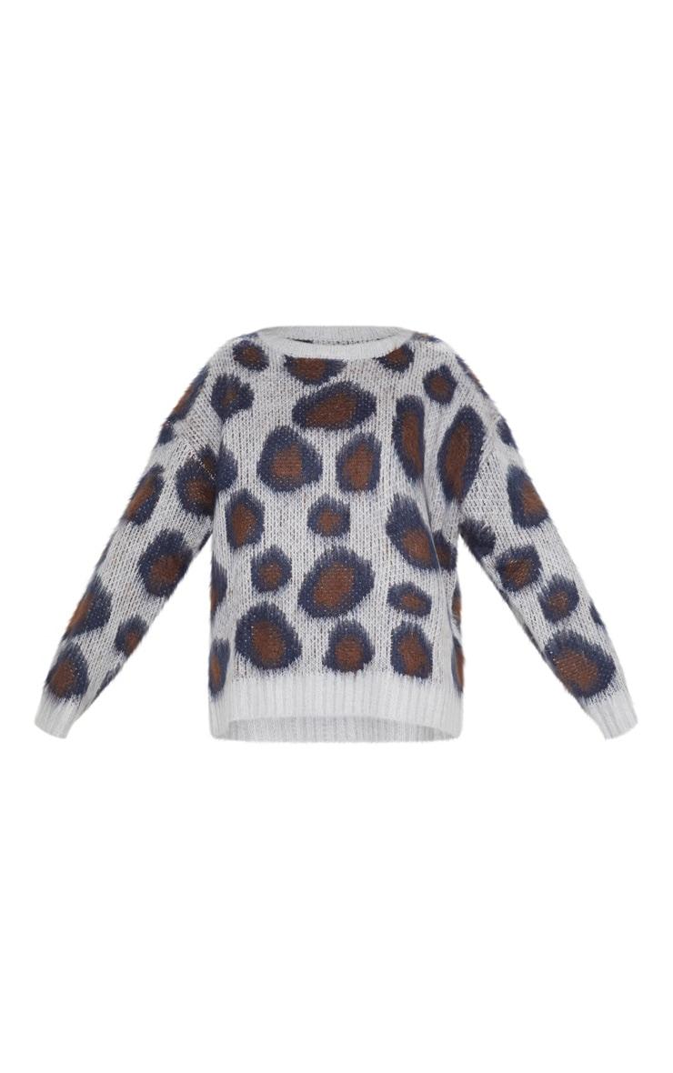 Grey Fluffy Leopard Knit  3