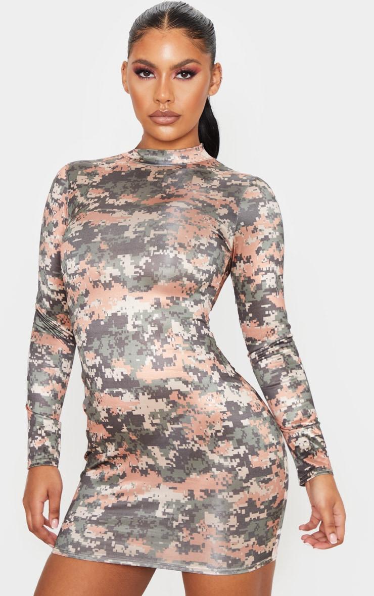 Multi Printed Metallic Slinky High Neck Long Sleeve Bodycon Dress 4