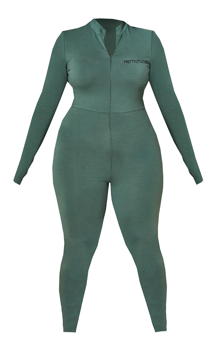 RENEW PRETTYLITTLETHING Plus Green Long Sleeve Catsuit 5