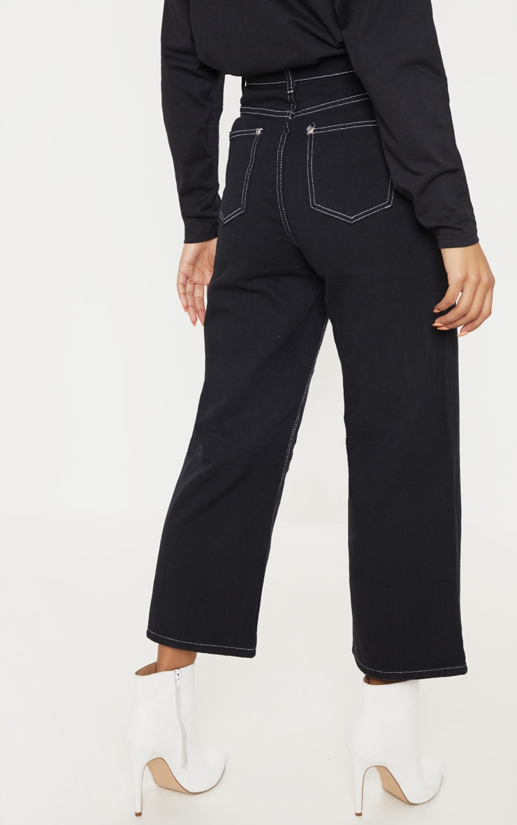 Black Wide Leg Utility Cropped Jeans 4