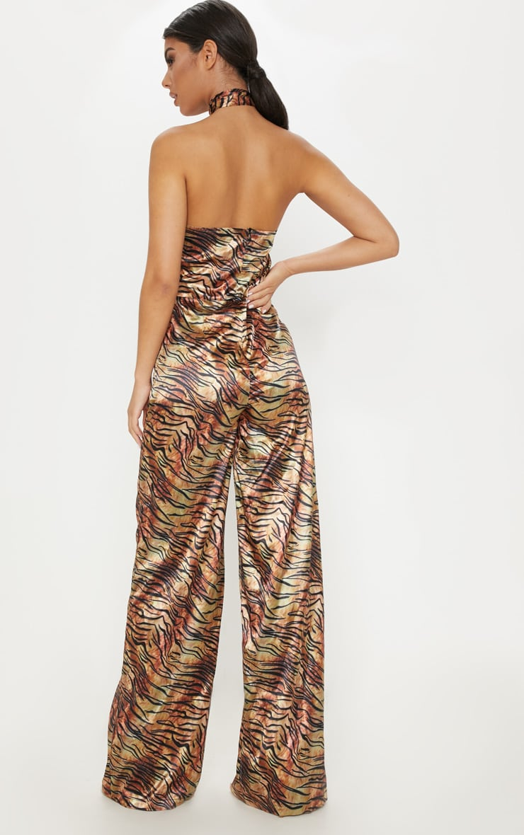 Tan Tiger Print Wrap Neck Jumpsuit 2