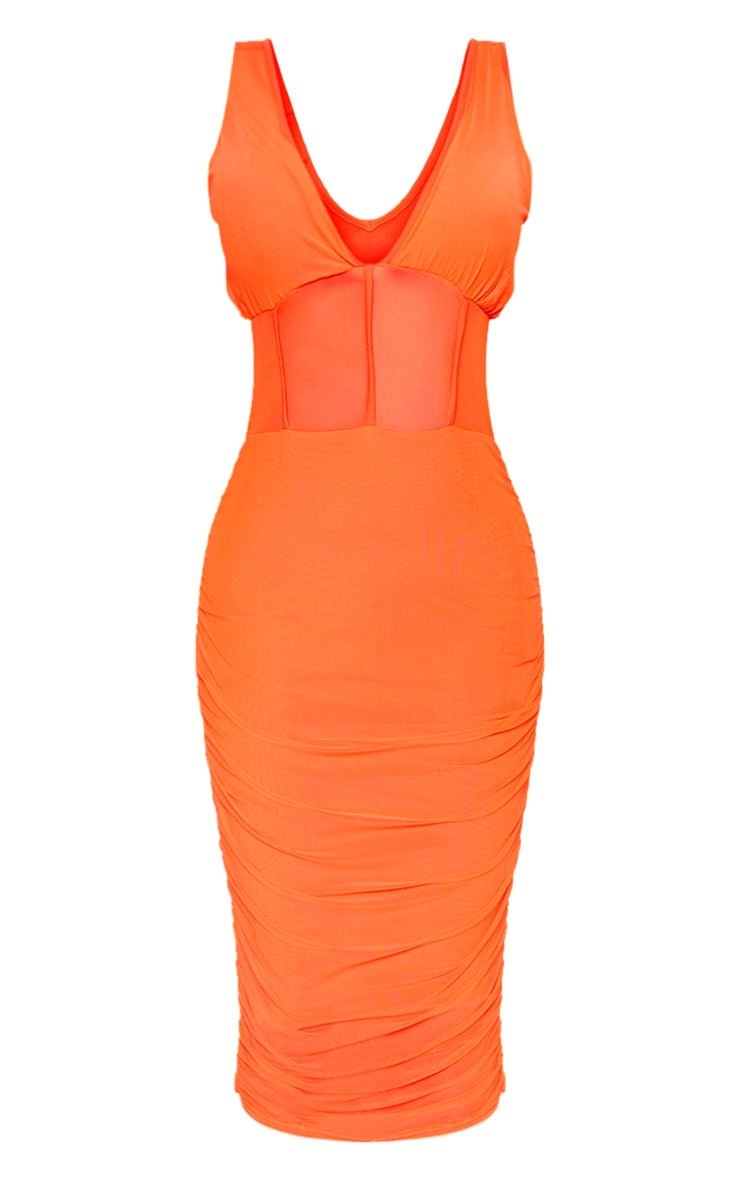 Bright Orange Mesh Binding Ruched Midi Dress 3