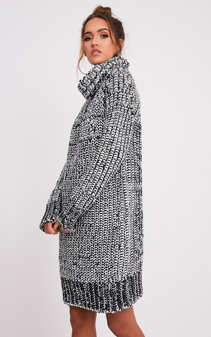 Xael Monochrome Knitted Roll Neck Oversized Dress 4