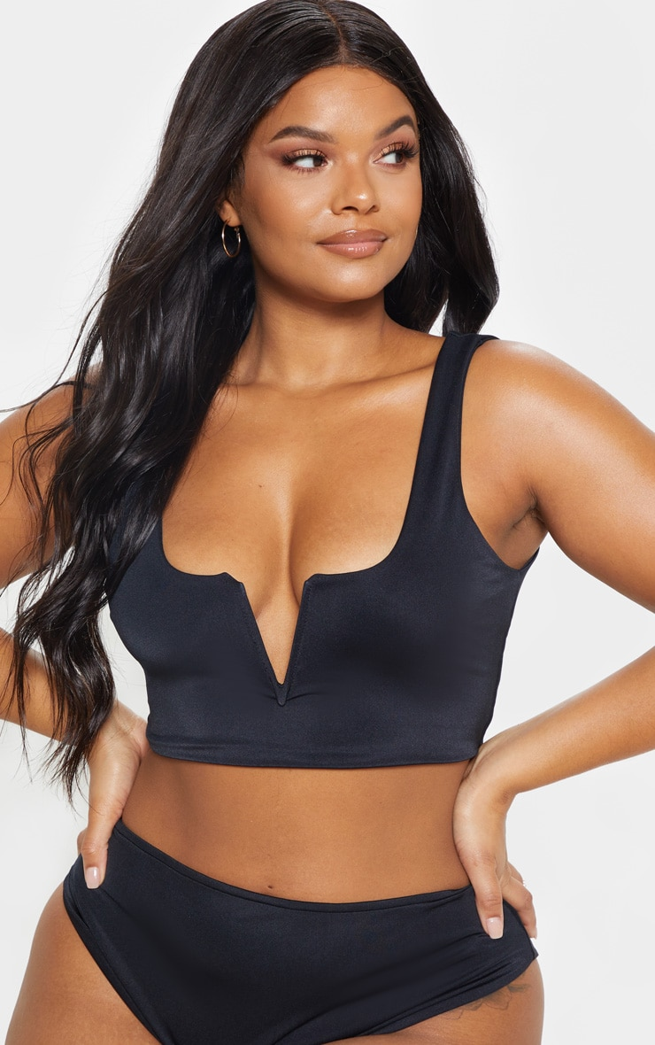 Plus Black V Bar Detail Bikini Top 4
