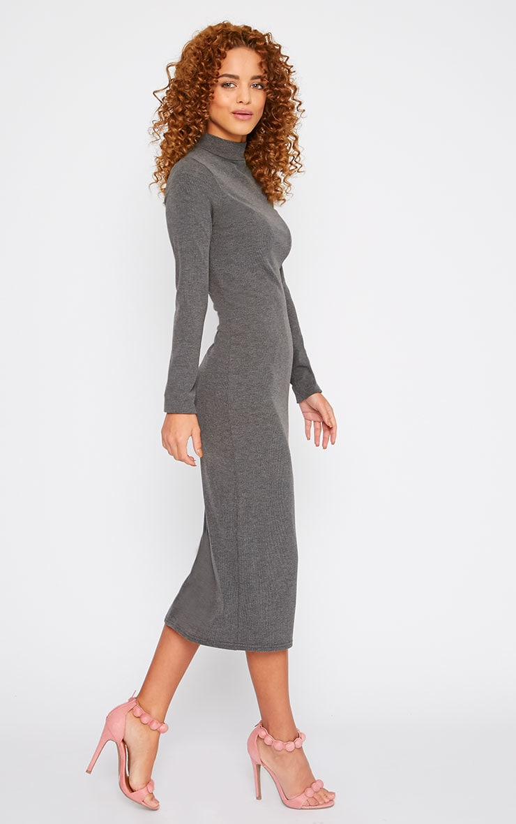 Basic Charcoal Ribbed Turtle Neck Midi Dress 3