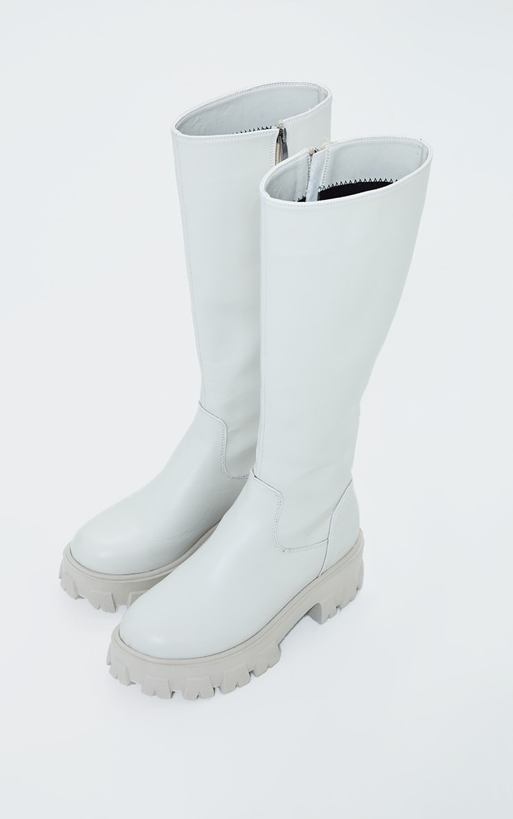Cream PU Cleated Sole Chunky Wellies 3