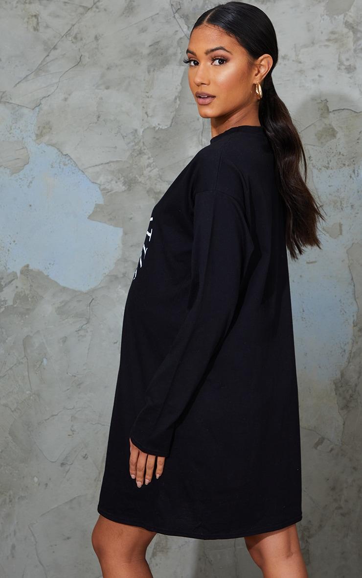 PRETTYLITTLETHING Maternity Black Slogan T Shirt Dress 2