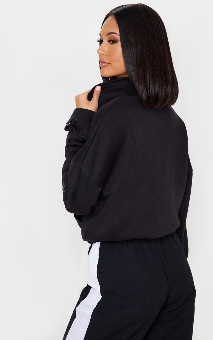 Black Oversized Zip Front Sweater 2