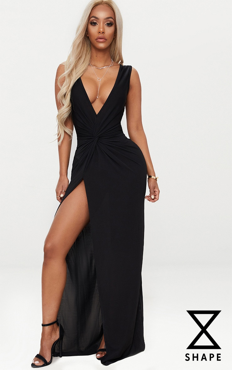 Shape Black Slinky Wrap Detail Maxi Dress