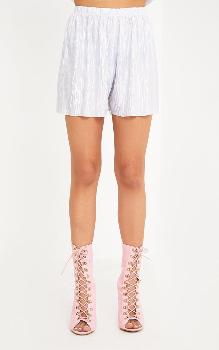 Maurelle Silver Pleated Shorts 2