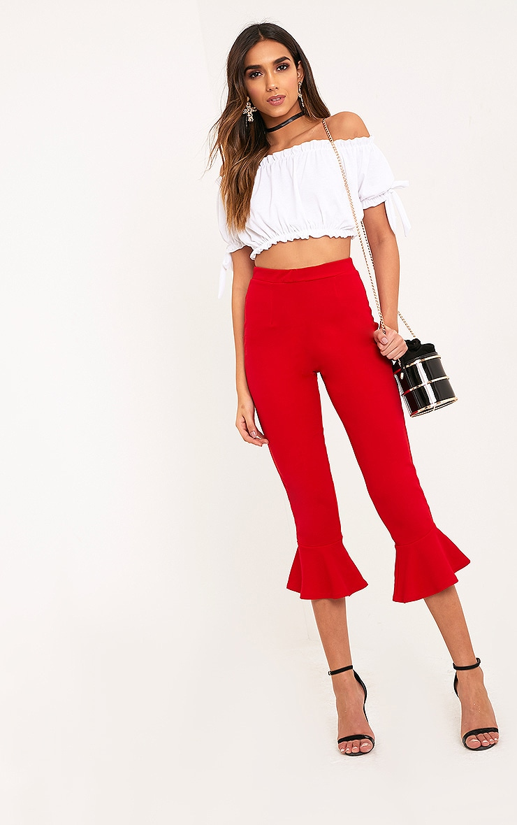 Red Flare Hem Pants 1