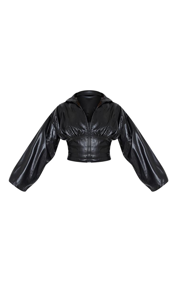 Veste style corset en similicuir noir 5
