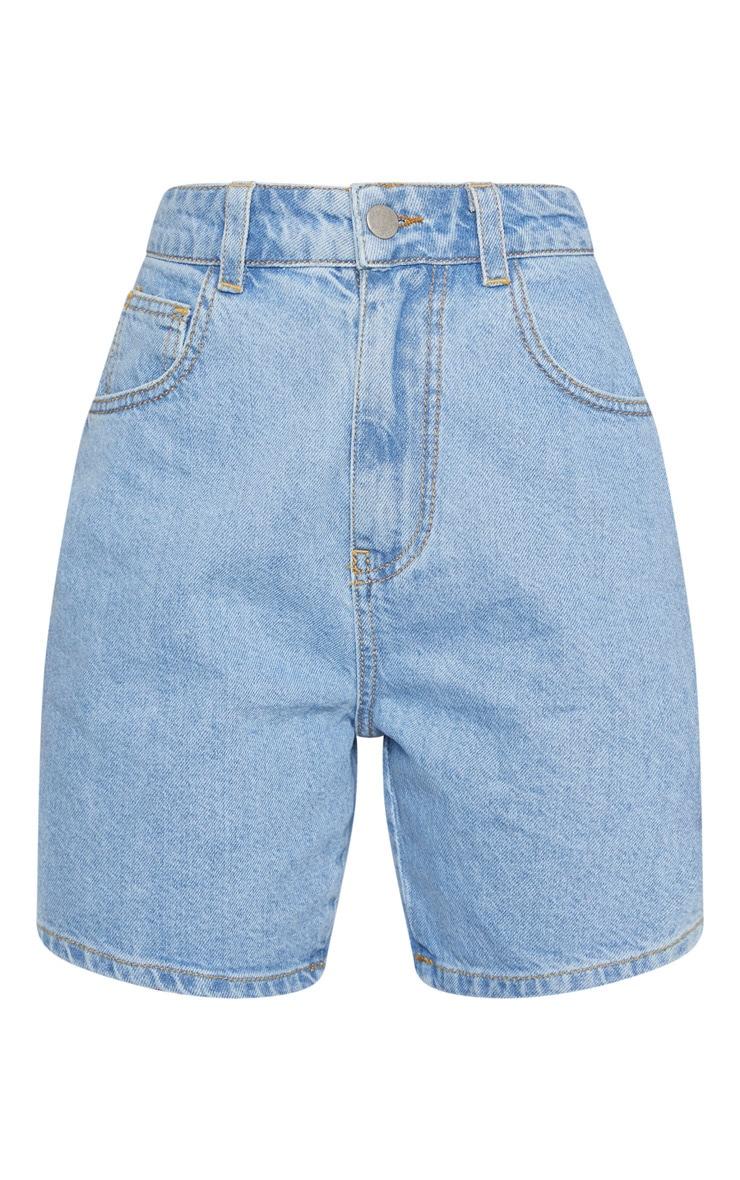 Petite Light Wash Mom Denim Shorts 3
