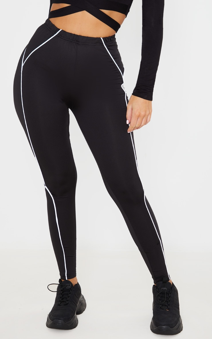Black Reflective Piping High Waist Gym Legging 2