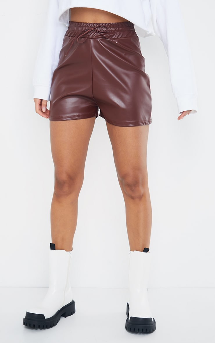 Chocolate Faux Leather Ruched Waist Band Short 2