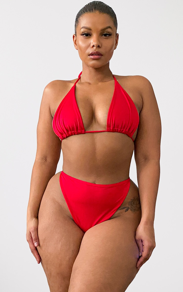 Plus Red Mix & Match High Waisted High Leg Bikini Bottom 4