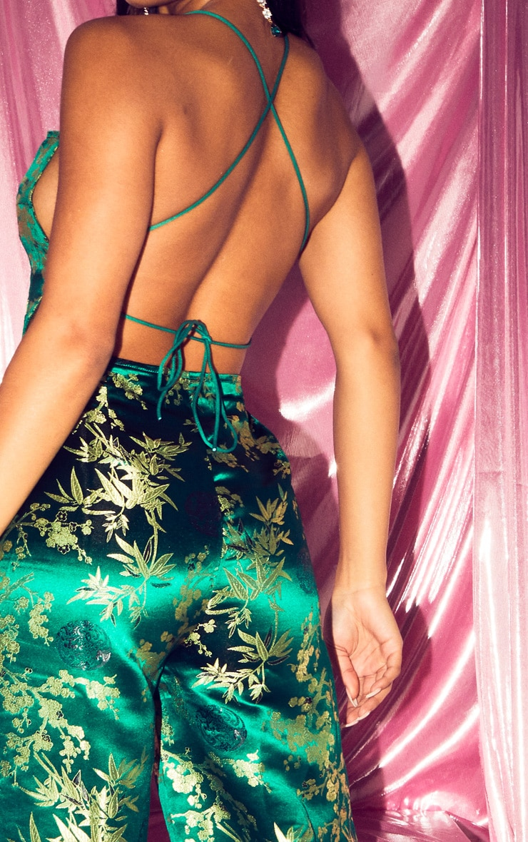 Emerald Green Oriental Satin Lace Up Back Jumpsuit 5