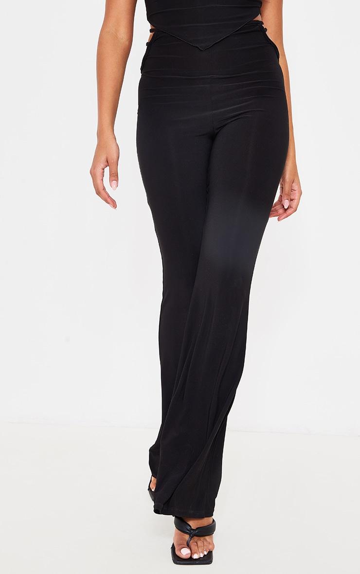Black Slinky Cut Out Detail Skinny Flare Pants 2