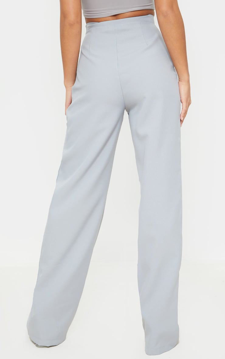 Petite Soft Grey Wide Leg Suit Pants 3
