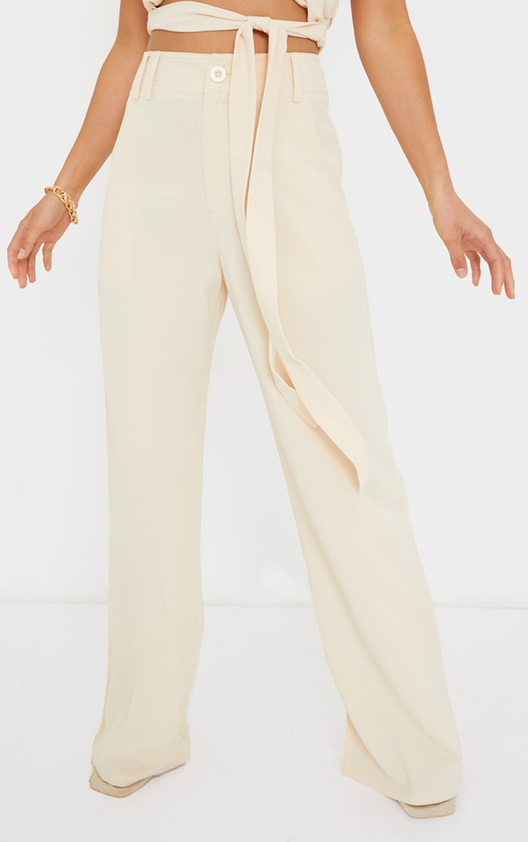 Petite Cream High Waisted Pocket Detail Trousers 2