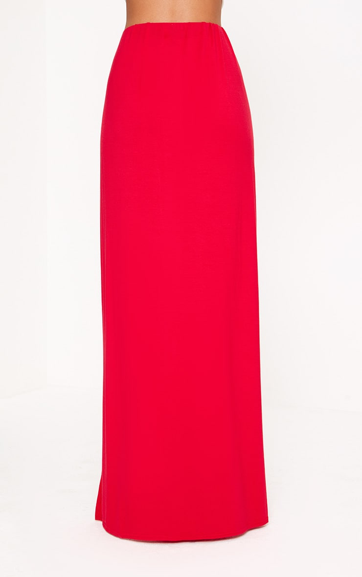 Red Double Split Maxi Skirt  4