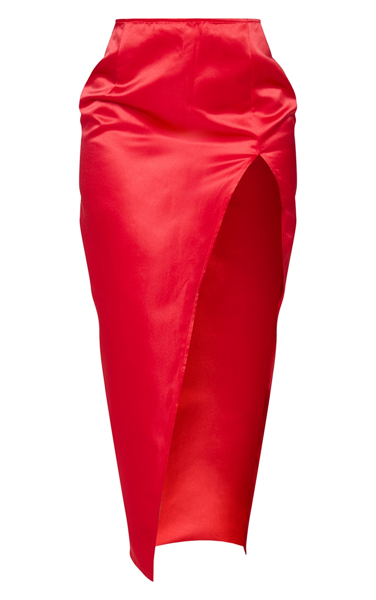 Shape Red Structured Satin Split Detail Midaxi Skirt 5