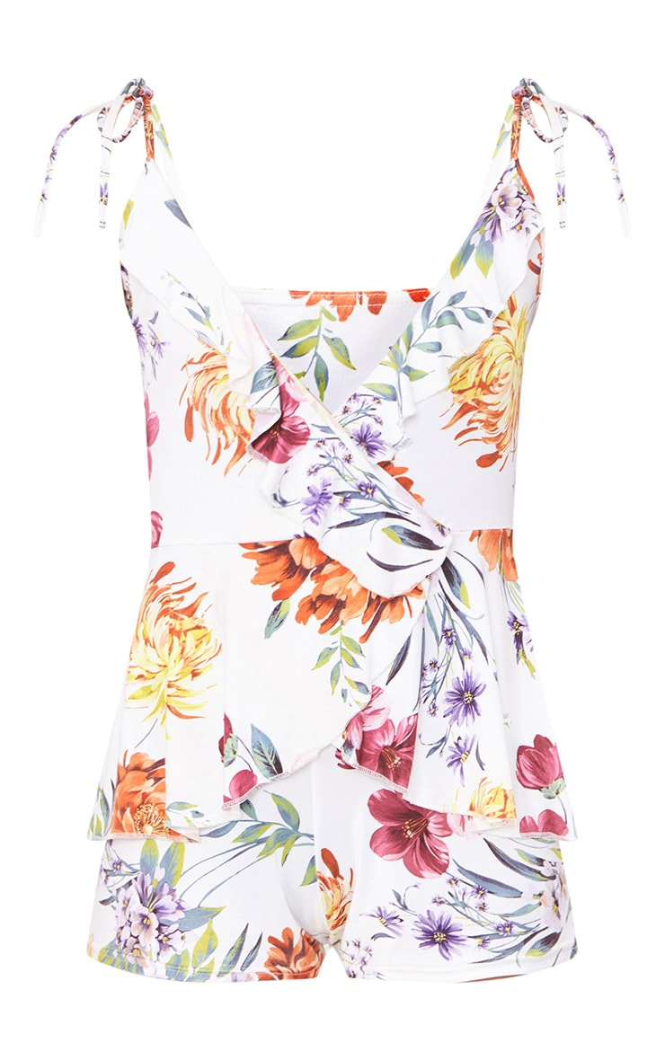 White Floral Ruffle Wrap Playsuit 3