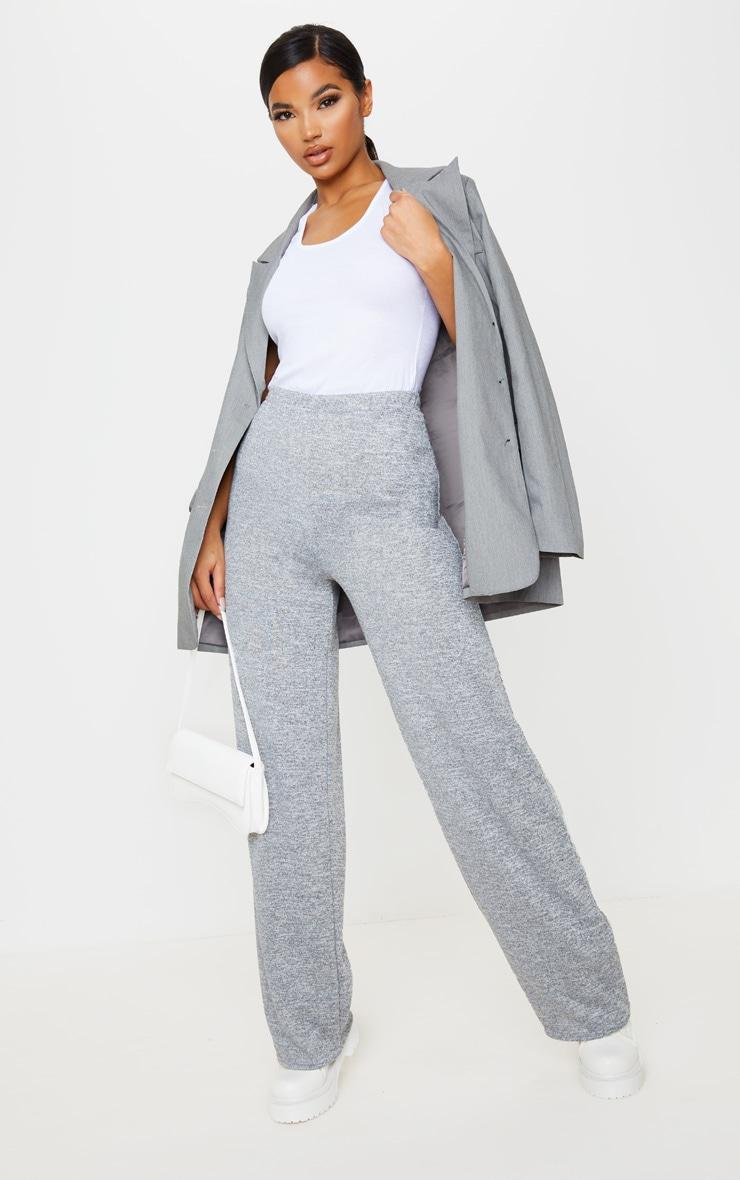 Pantalon gris chiné à jambes évasées 1