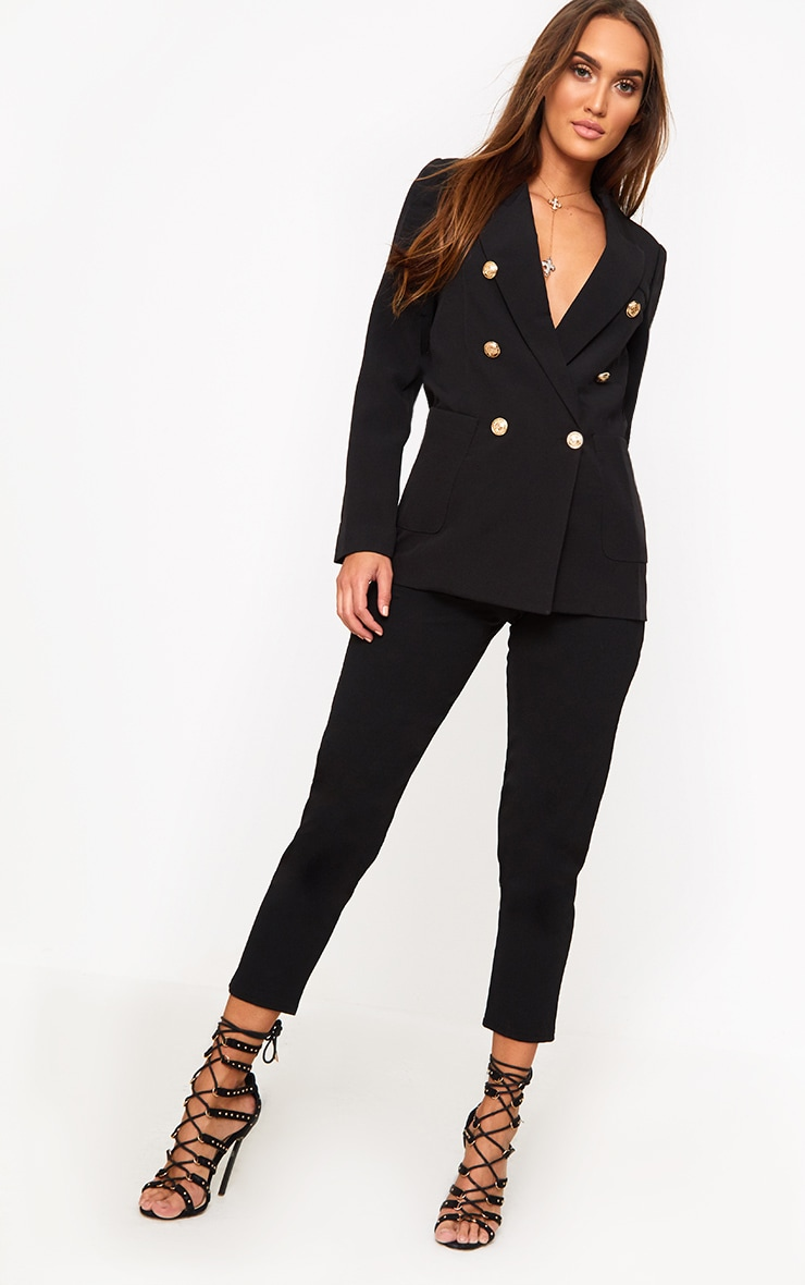 Pari Black Double Breasted Military Style Blazer 4