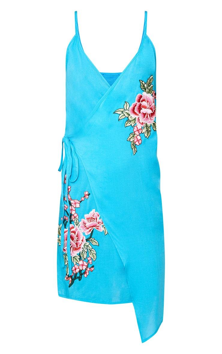 Blue Applique Wrap Shift Dress 3
