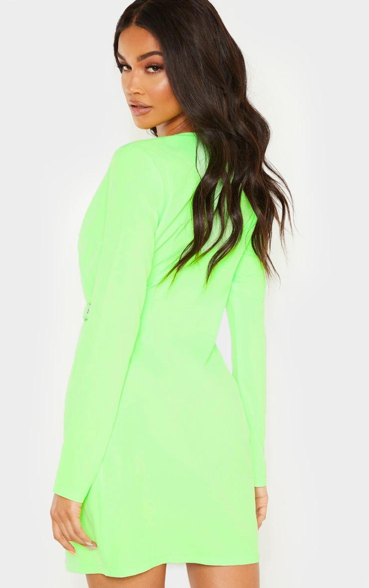 Neon Lime Utility Blazer Dress  2