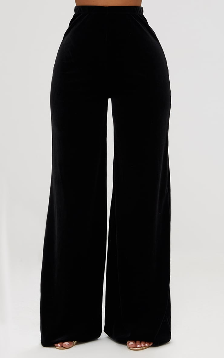 Shape Black Velvet Wide Leg Pants 2