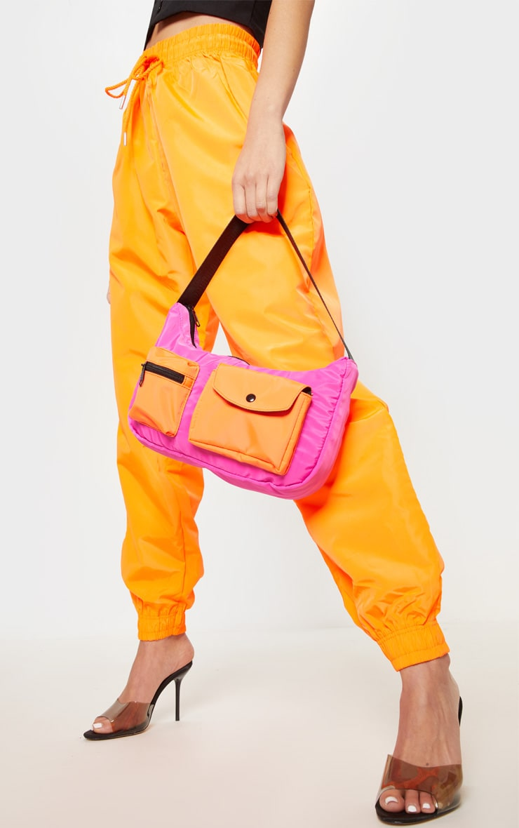 Neon Pink And Orange Double Pocket Nylon Shoulder Bag 1
