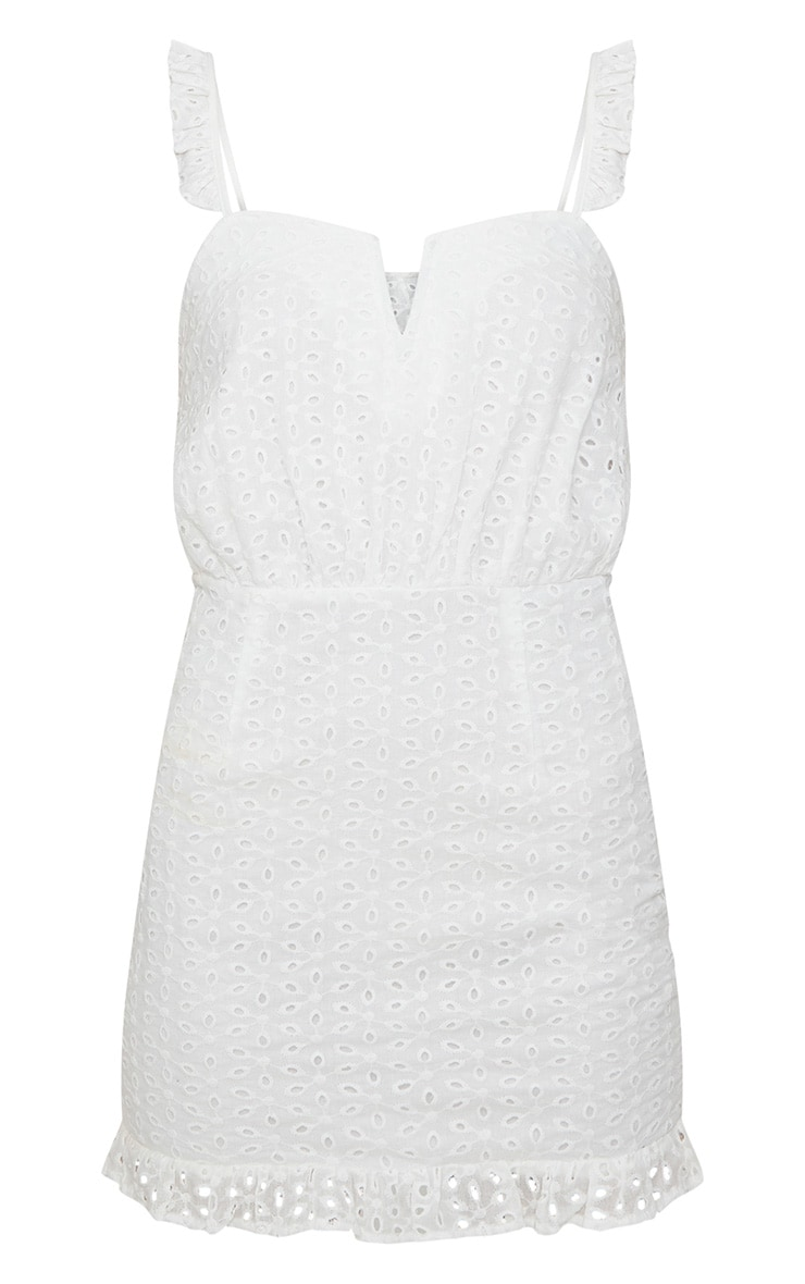Petite White Lace Frill Hem Bodycon Dress  3