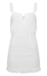 ec107d16de1a Petite White Lace Frill Hem Bodycon Dress | PrettyLittleThing