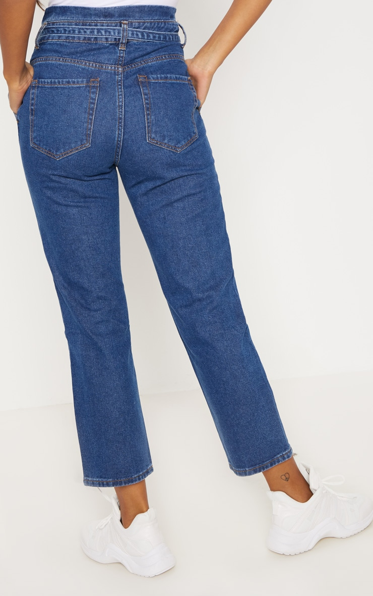 Dark Wash Straight Leg Paperbag Jean 4