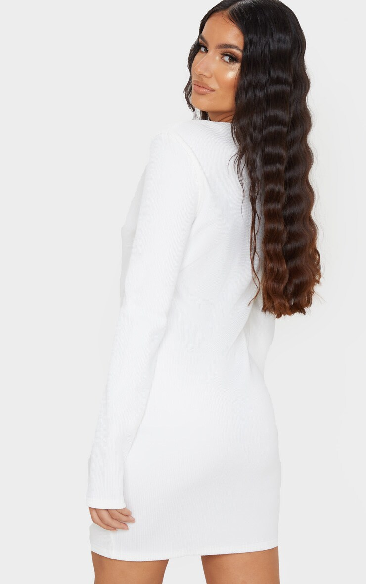 White Jumbo Rib Double Zip Bodycon Dress 2