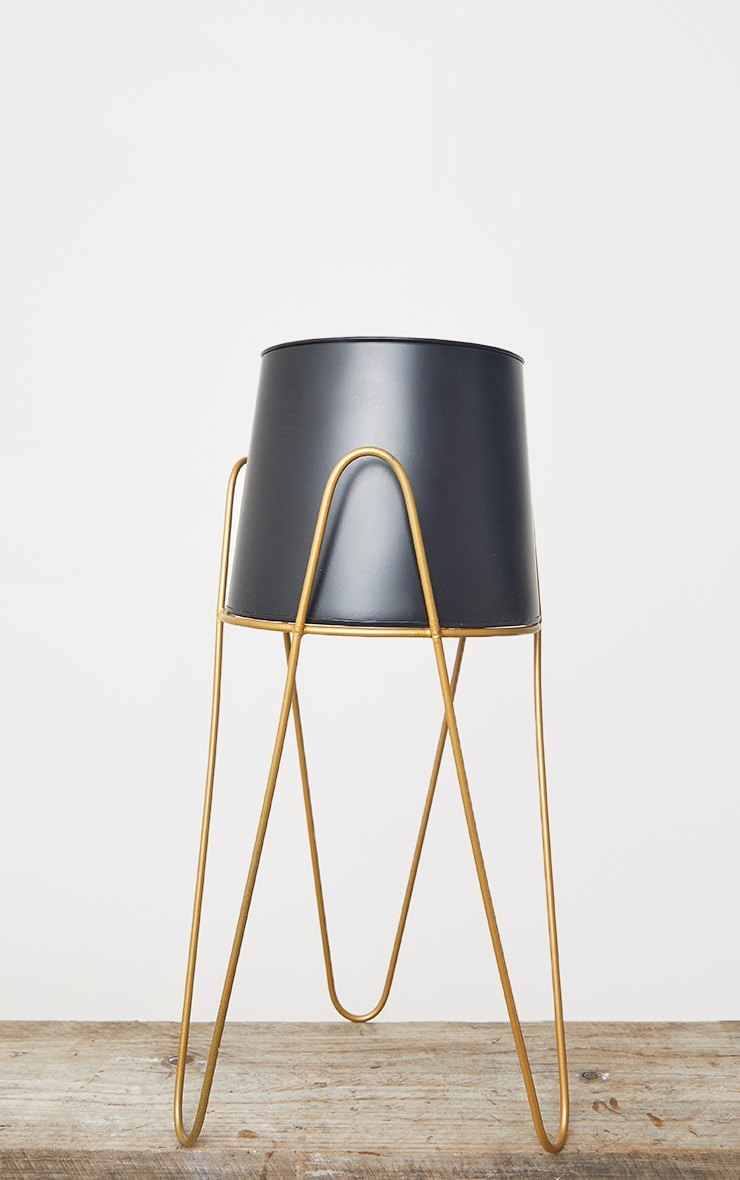 Black Planter With Gold Stand 4