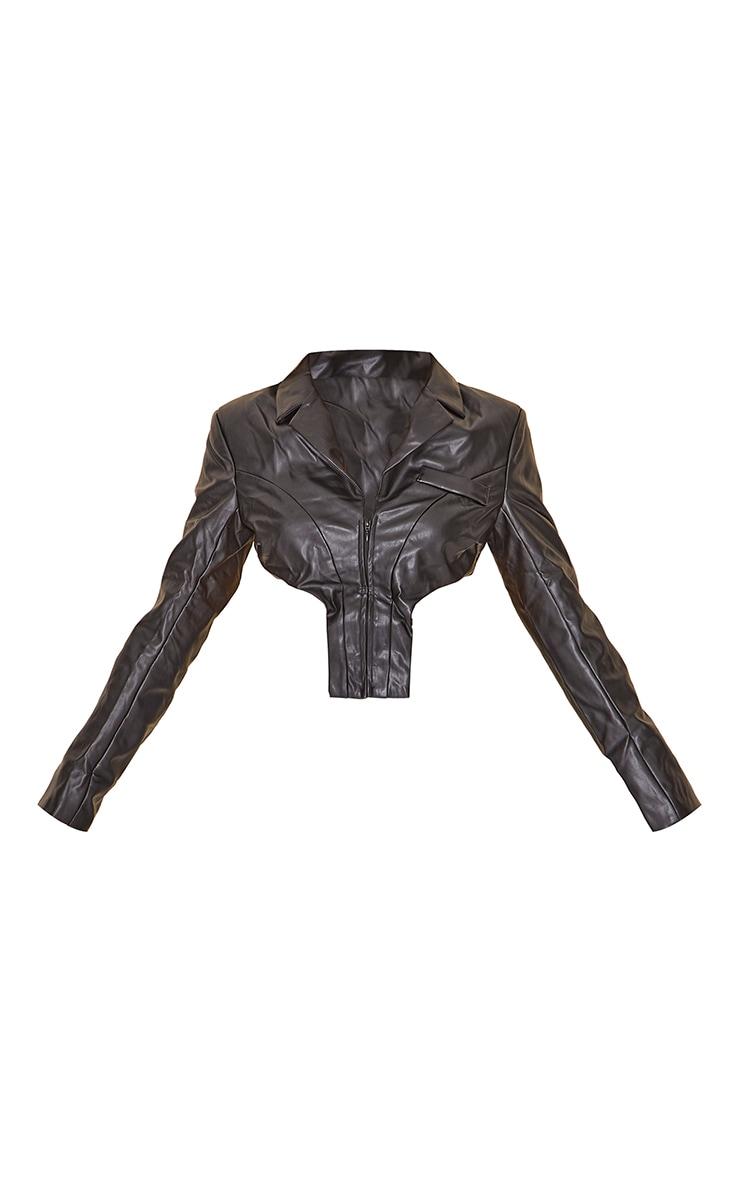 Black Faux Leather Cropped Blazer 5