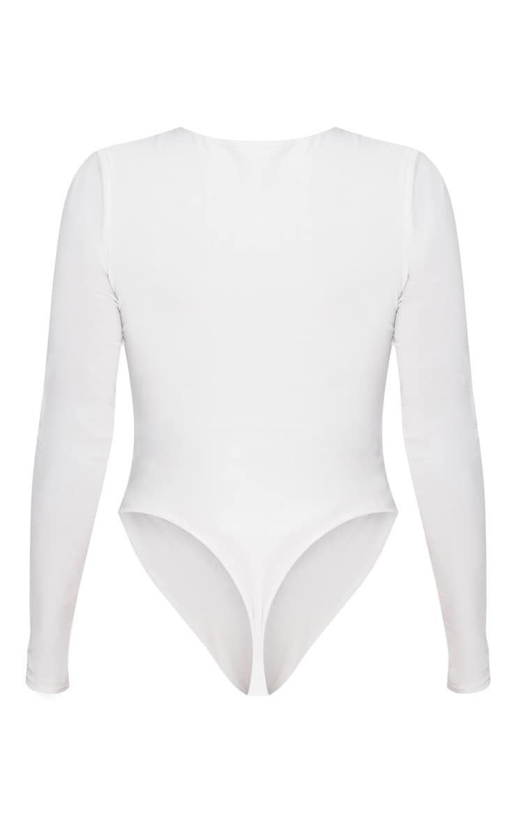 Shape White Long Sleeve Slinky Bodysuit  4