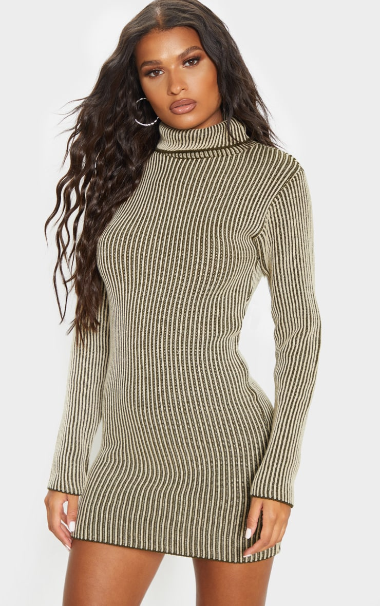 Khaki Two Tone Knitted Dress 4