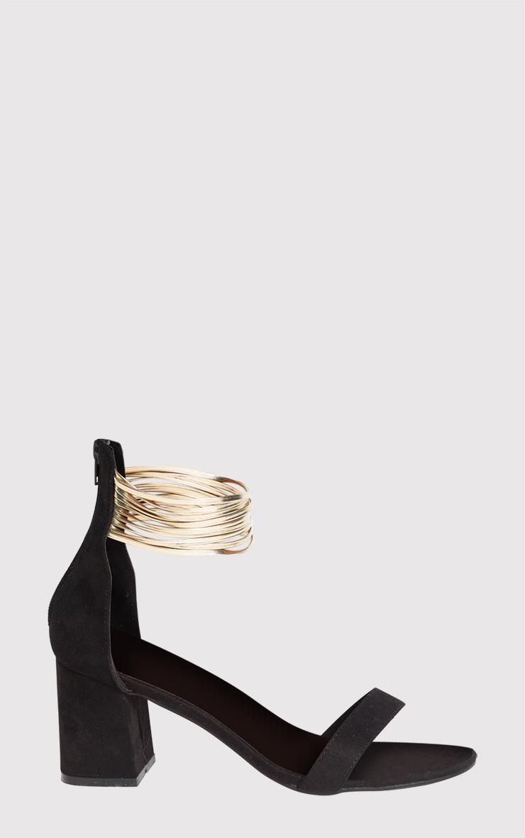 Naida Black Fine Strappy Block Heeled Sandals 3