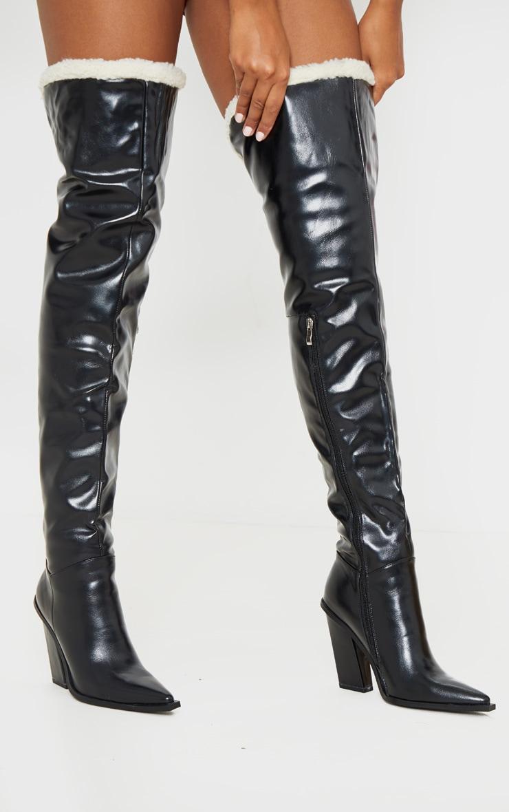 Black Borg Cuff Thigh High Boot 2