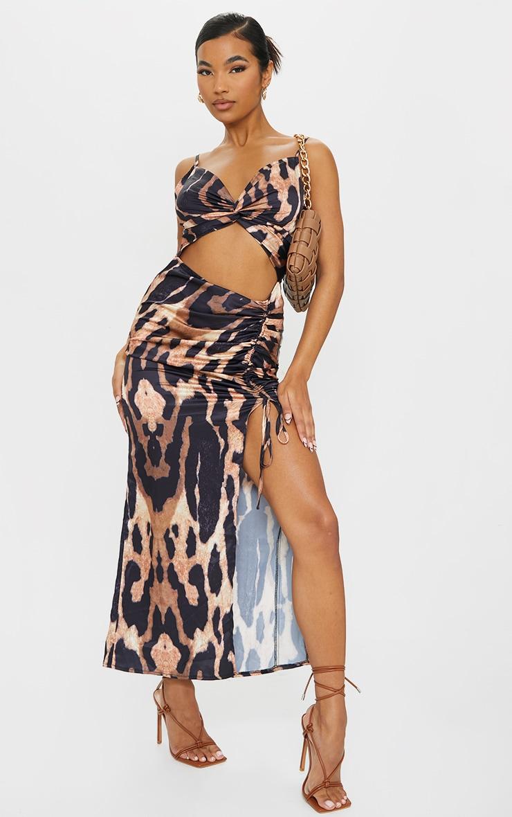 Brown Leopard Print Satin Twist Bust Ruched Maxi Dress 3
