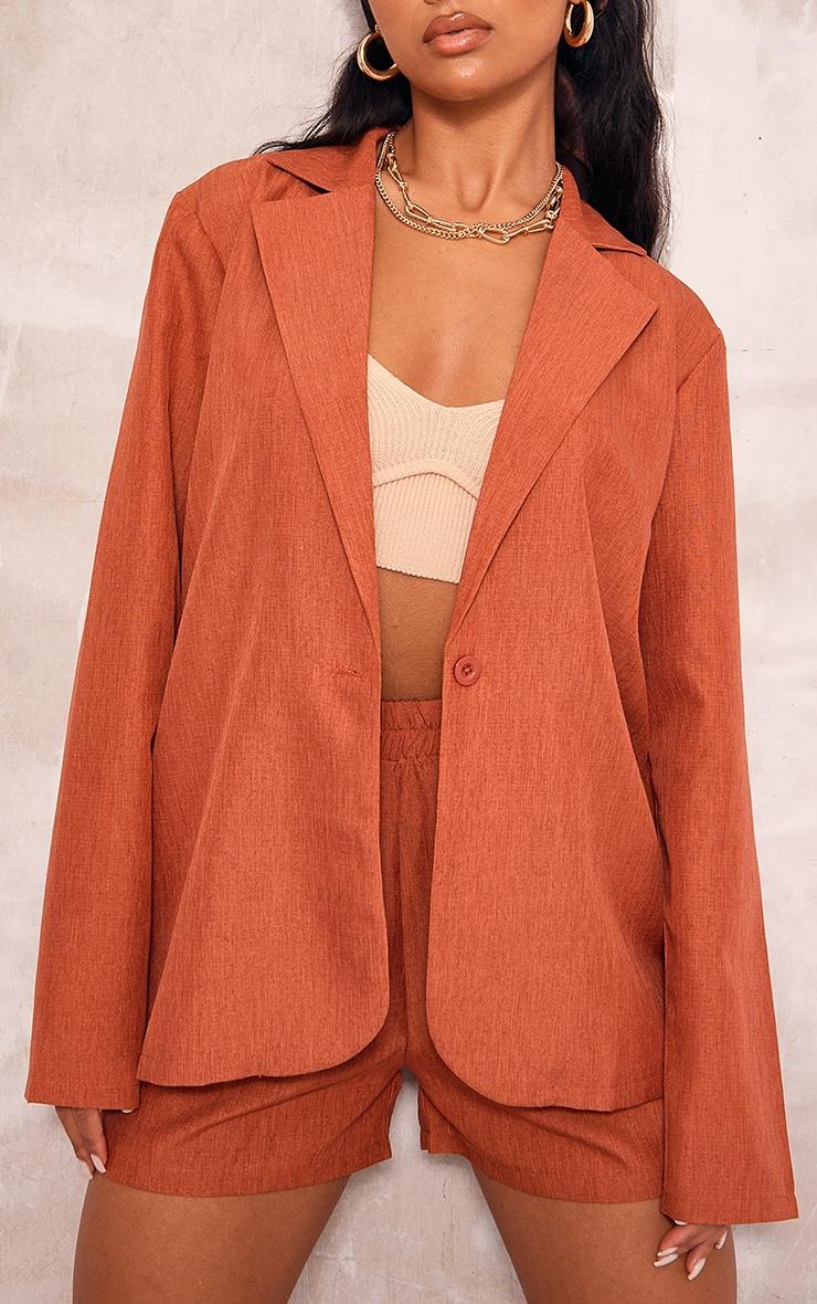 Rust Textured Woven Longline Blazer 4