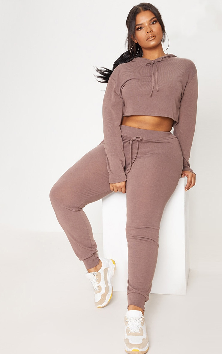 Plus Chocolate Knitted Joggers 1
