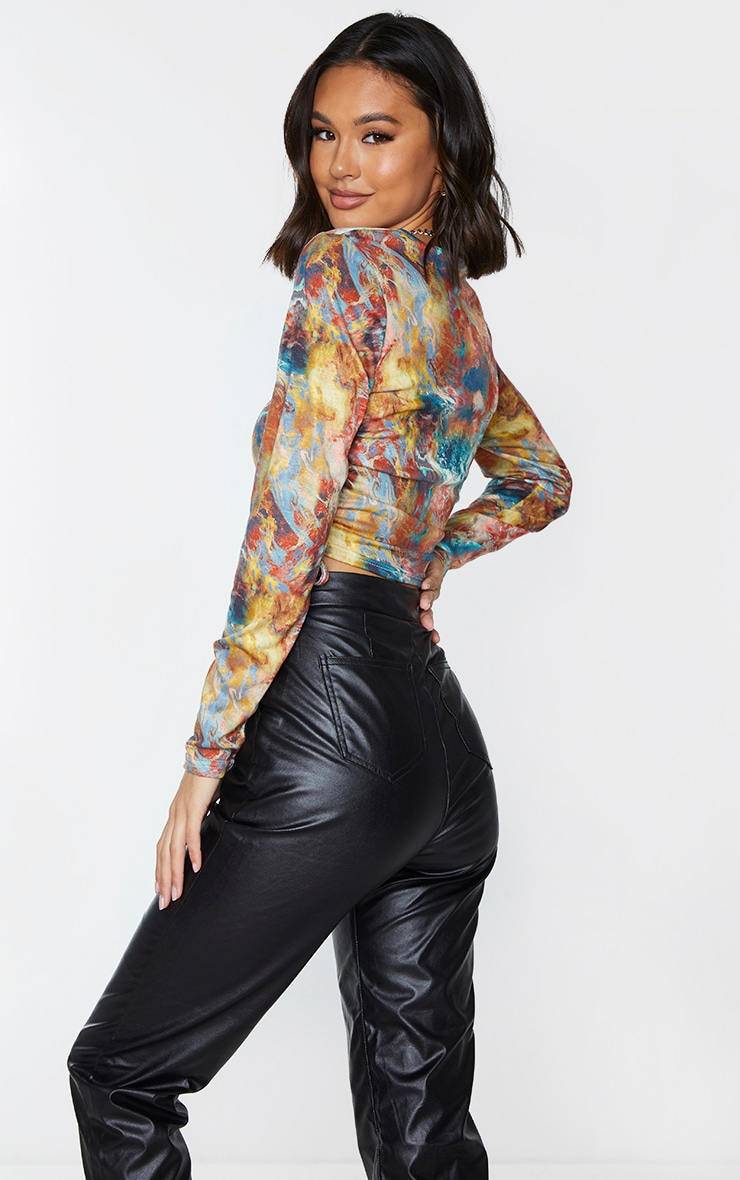 Multi Jersey Tie Ruched Side Long Sleeve Crop Top 2