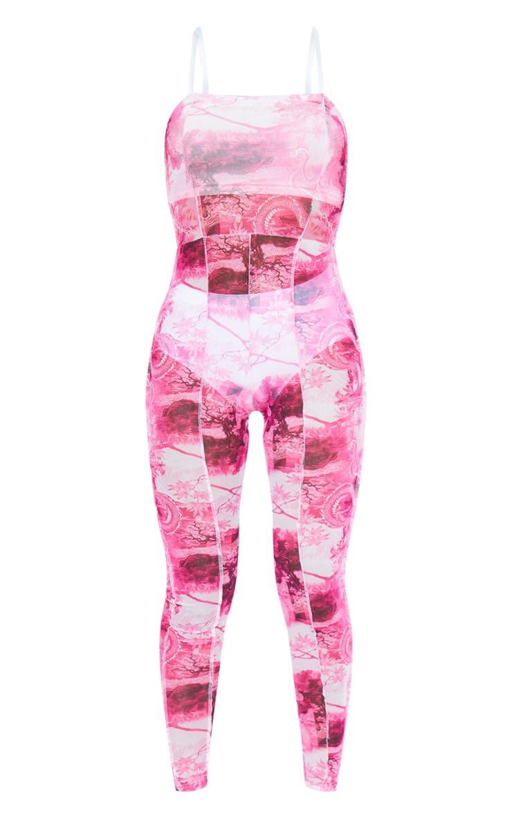 Pink Print Seam Detail Strappy Mesh Jumpsuit 6