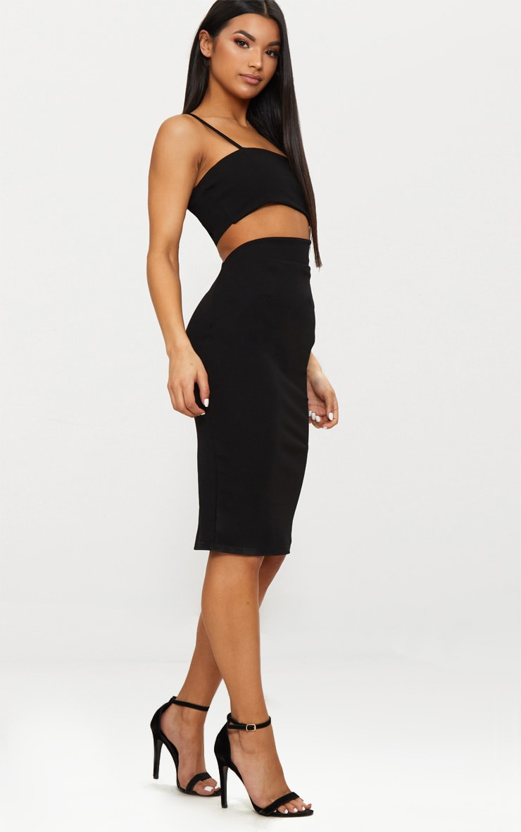 Black Strappy Square Neck Cut Out Detail Ruched Skirt Midi Dress  4