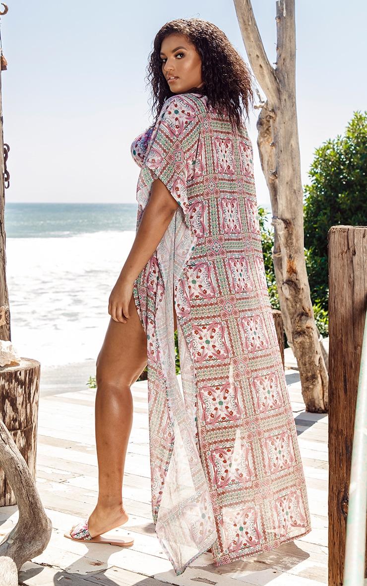 Plus Multi Mosaic Sleeveless Maxi Beach Kimono 2